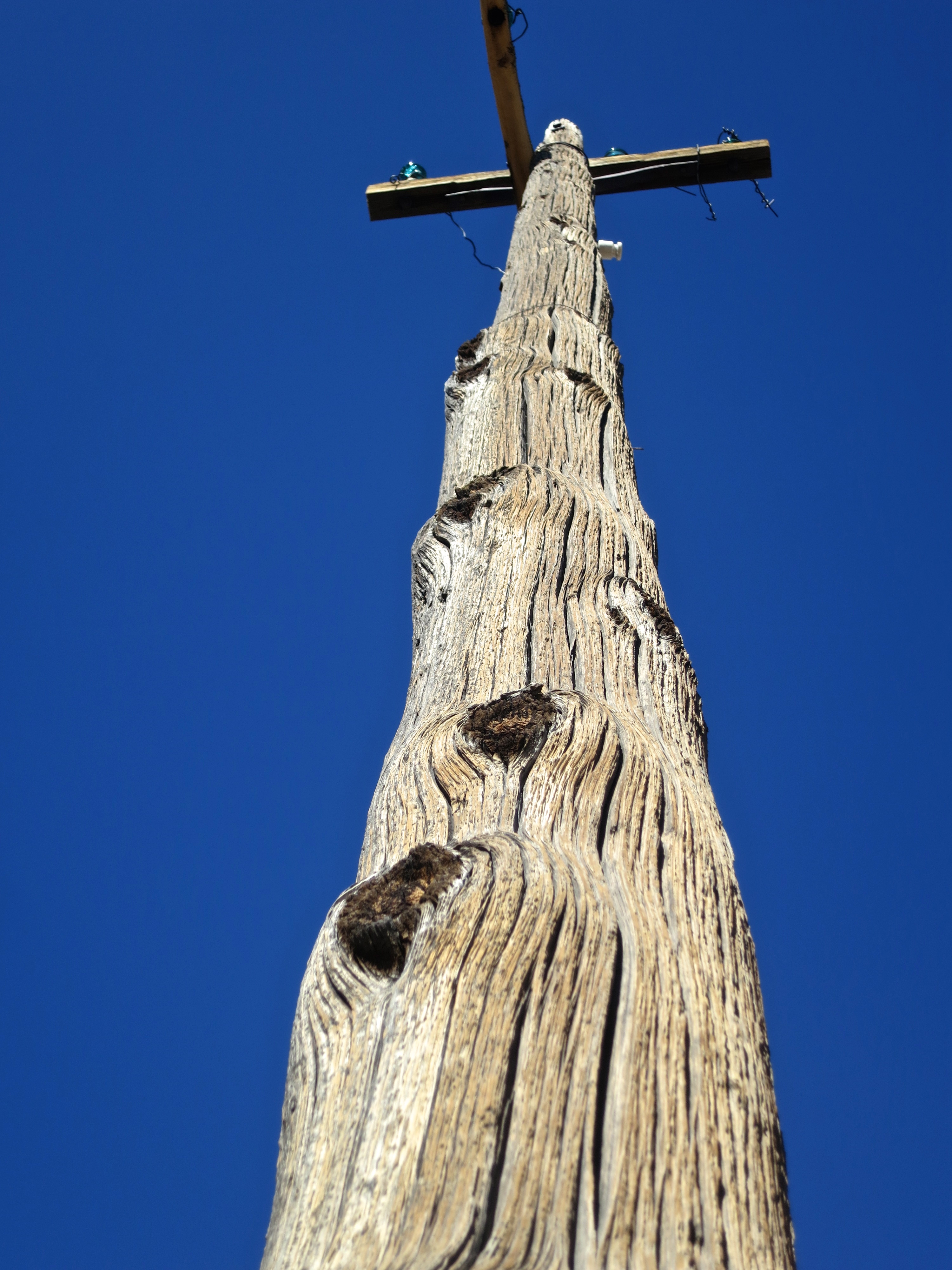 Old power pole in the ghost town of Bodie.