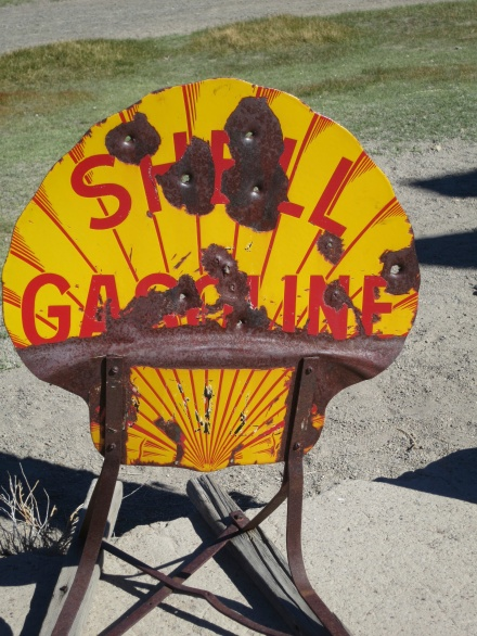 Old Shell gas sign at Bodie Historical Park in California