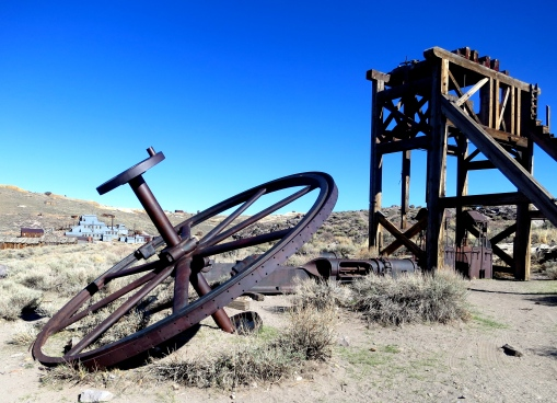 Mining equipment at Bodie State Historical Park in California.