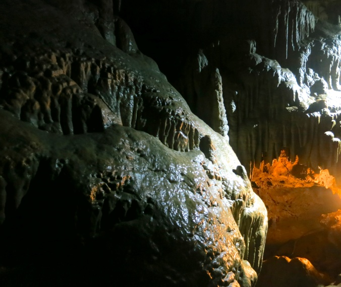 Another example of the impact of lighting. The rock on the left had been signed by all of the members of a geology class that had visited in the 1800s. Strict rules are now in place to protect the cave.