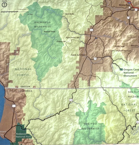 This map shows the location of Oregon Caves National Monument.