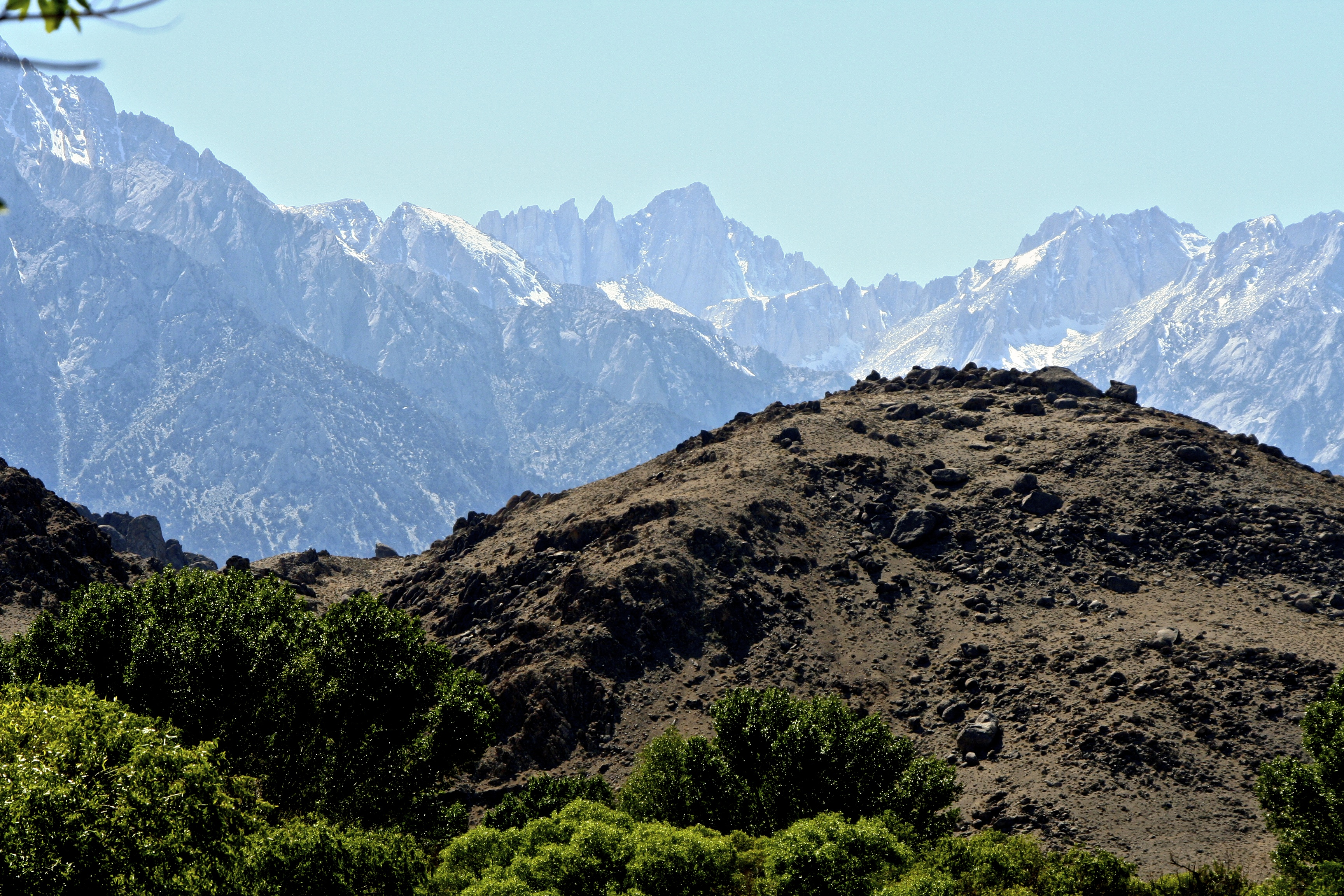 A final view of Mt. Whitney. This one features the Alabama Hills, the site of many early movies featuring the likes of Hop-a-long Cassidy and the Lone Ranger.