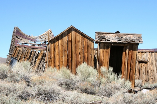 Bones of building at Bodie State Park in California.