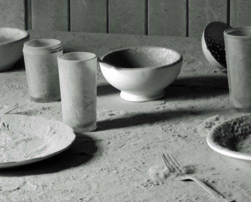 Place setting covered in dust at Bodie State Historical Park.
