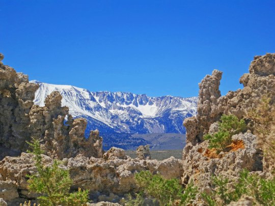 A final view of the Sierra Nevada Mountains framed by tufa towers at Mono Lake.