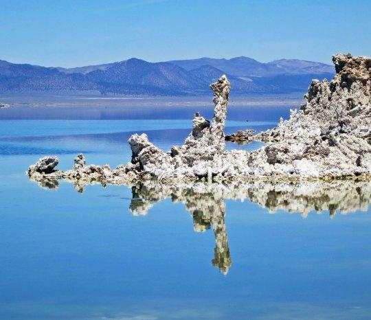 Tufa reflection in Mono Lake, California near Lee Vining.