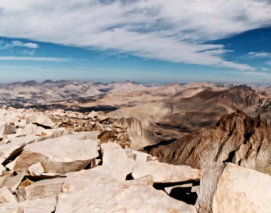 Looking north form Mt. Whitney up the crest of the Sierra Nevada Mountains that I had just hiked through following the Pacific Crest and John Muir Trails.