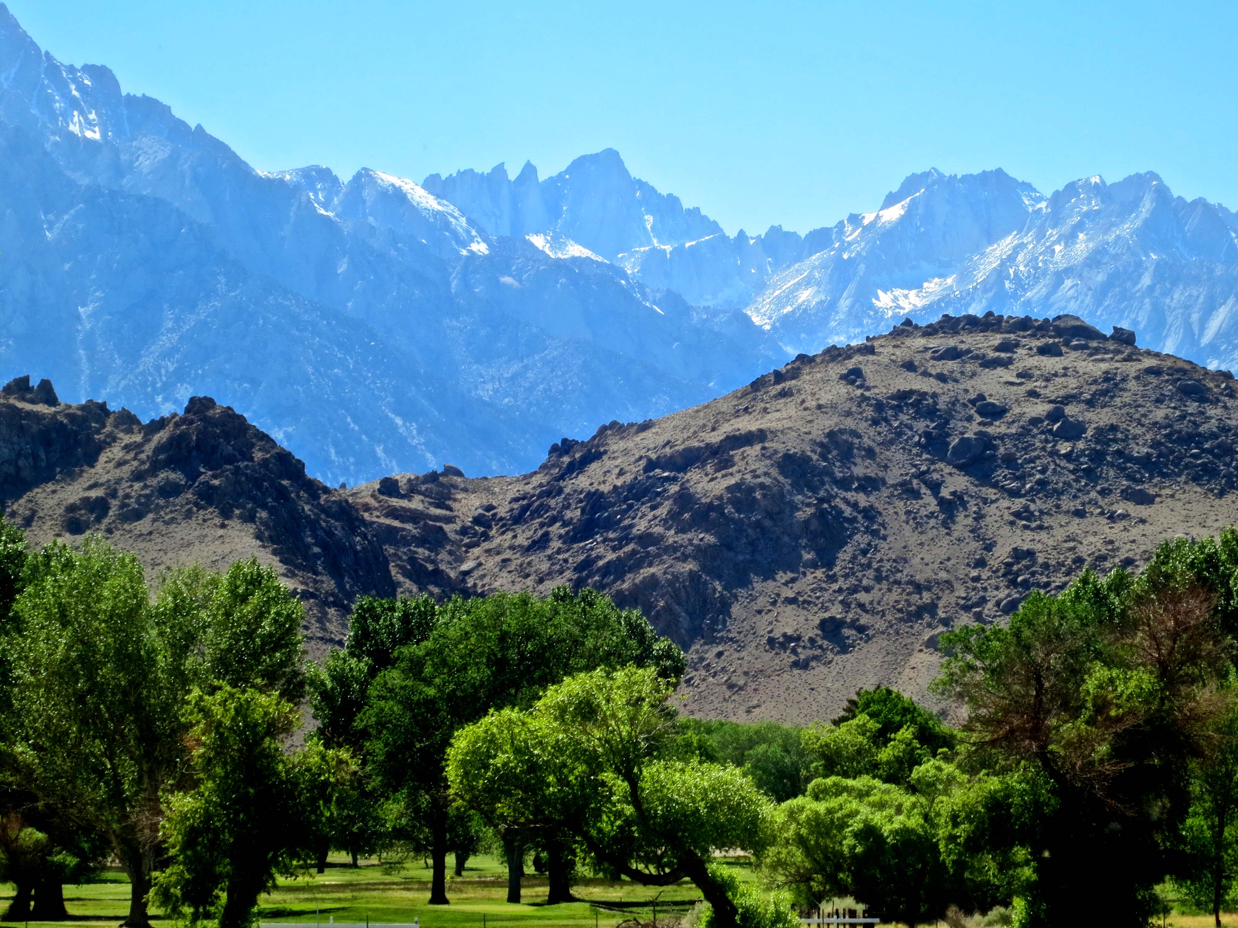 Highway 395 is one of America's most scenic drives. This view looking up at Mt. Whitney, center top, is one of the reasons why.