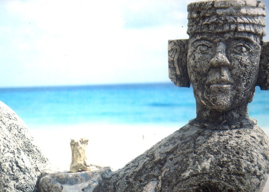Traveling to Mexico, Bone takes a break by resting on Chacmool, where hearts were once offered up as sacrifices.