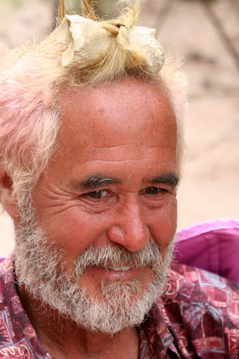 Tom Lovering goes native and wears Bone in his hair on the Colorado River trip.