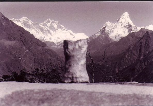 Bone looks out on Mt. Everest in Nepal.