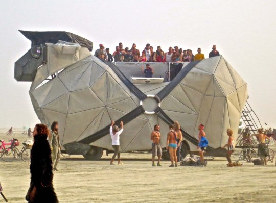 Large mutant vehicles can carry a number of people at Burning Man. Photo by Curtis Mekemson.