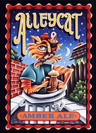 The label from Alleycat Ale of the Lost Coast Brewery in Eureka California. Duane Flatmo created the label.