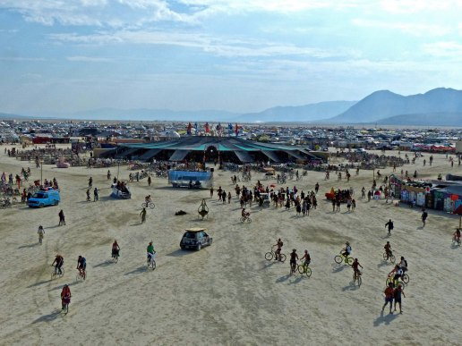 Center Camp view at Burning Man 2014.