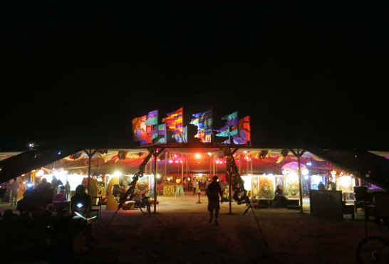 Center Camp Cafe at night Burning Man 2014.