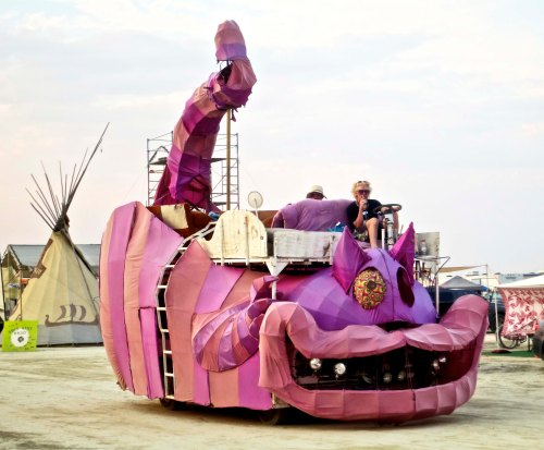 Cheshire cat at Burning Man 2014.