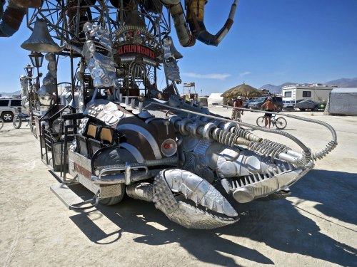 Crab sculpture found on El Pulpo Mechanico, Burning Man 2014. Photo by Curtis Mekemson.