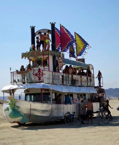 Lady Sassafras mutant vehicle at Burning Man 2014.
