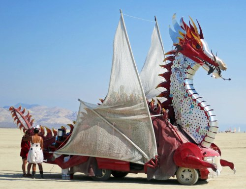 Winged dragon mutant vehicle at Burning Man 2014. Photo by Curtis Mekemson.