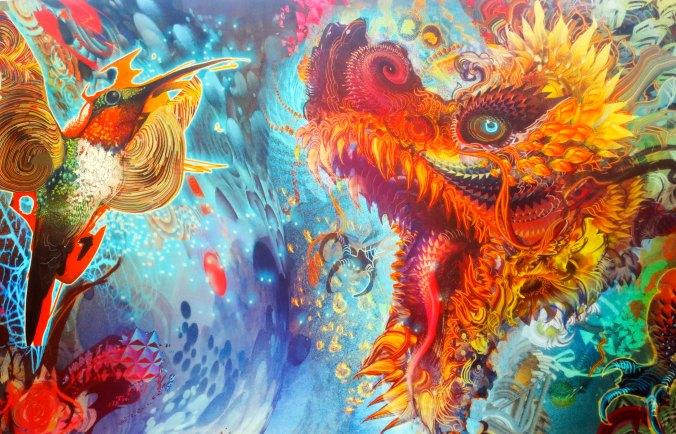 Art featuring dragon and humming bird at Center Camp Cafe, Burning Man 2014.
