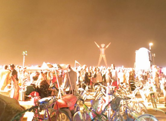 Mutant vehicle lights up the night at Burning Man 2014.