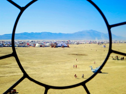 View form the eye of the Embrace statue at Burning Man 2014. Photo by Curtis Mekemson.