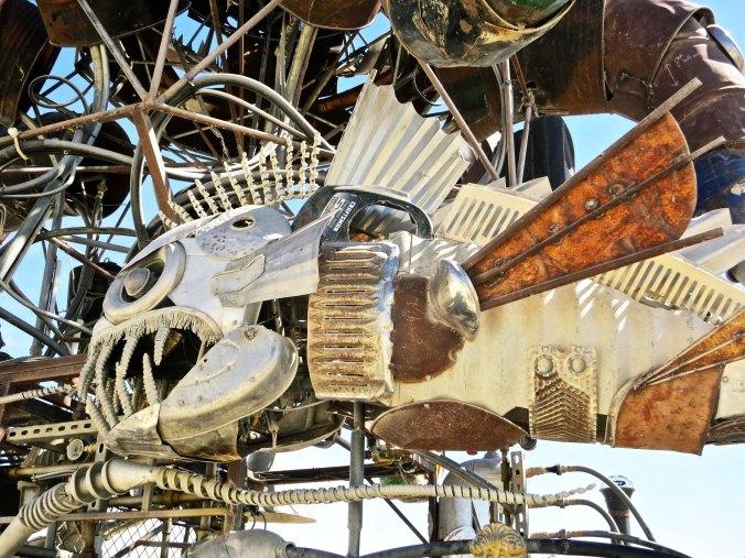 Fish sculpture found on El Pulpo Mechanico at Burning Man 2014.