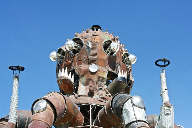 Photo of El Pulpo's head featuring salvaged parts at Burning Man 2014. Photo by Curtis Mekemson.