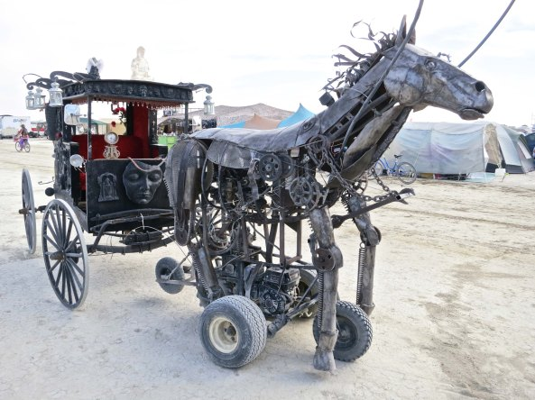 A steampunk horse and carriage at Burning Man 2014. Photo by Curtis Mekemson.