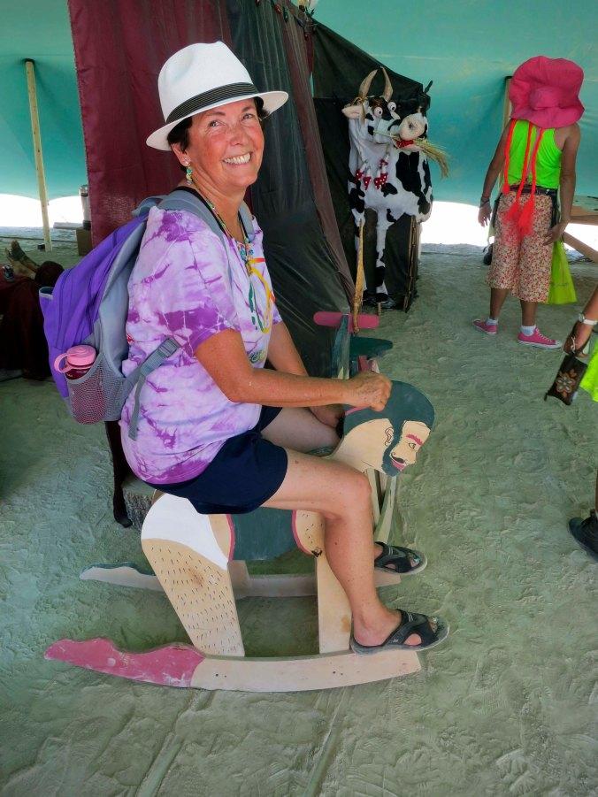 Man horse gives ride at Burning Man 2014.