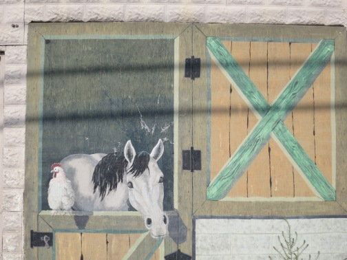 This Cedarville mural suggests even the local livestock are welcoming Burners. Or maybe this horse and chicken are amazed by the strange procession of people and vehicles passing through their normally quiet town.