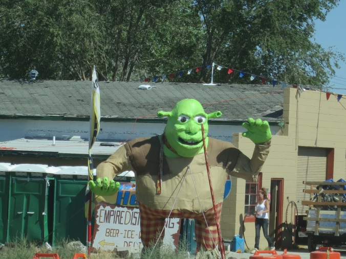 The rocks gave way to Shrek as we entered the small town of Empire a few miles outside of Burning Man.