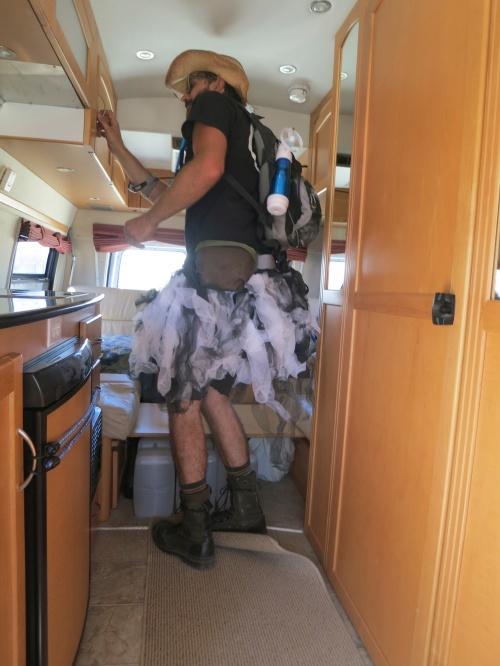 Ticket checkers search for non-ticketed Burners at Burning Man 2014.