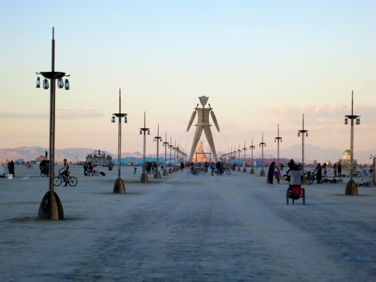 The Man at Burning Man 2014 at the end of the avenue leading out from Center Camp.