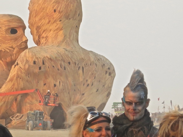 Embrace sculpture being prepped to burn at Burning Man 2014.
