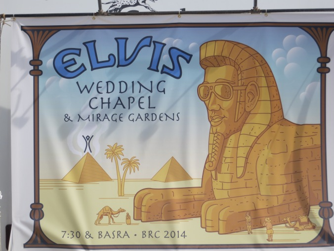 The Elvis Wedding Chapel at Burning Man 2014.