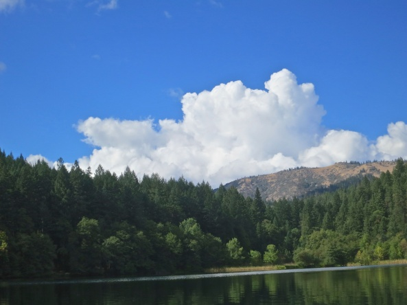 Cumulous clouds dominate the horizon at Squaw Lake in southern Oregon.