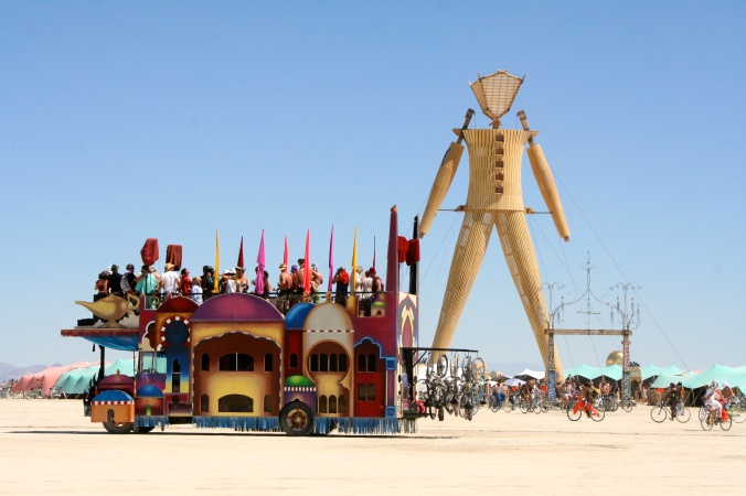 The Man at Burning Man in 2014 and a mutant vehicle.