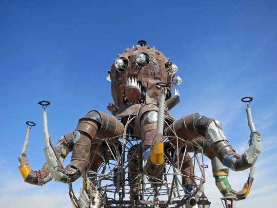 El Pulpo Mechanico shown up in the air at Burning Man 2014. Photo by Curtis Mekemson.