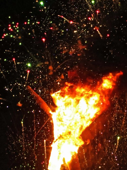 Fireworks and Man burning at Burning Man 2014.