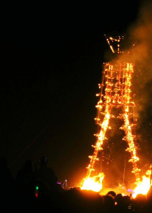 The Man before he falls at Burning Man 2014.