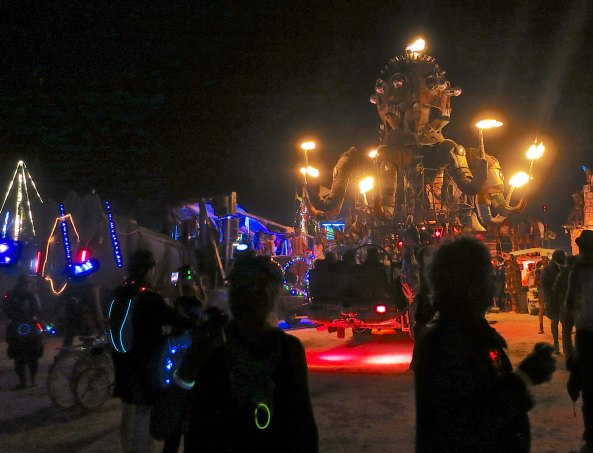 El Pulpo Mechanico line up with other mutant vehicles waiting for the Man to burn at Burning Man 2014. Photo by Curtis Mekemson.