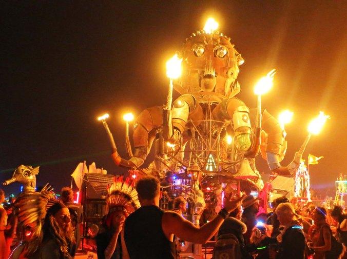 The mutant vehicle El Pulpo Mechanico lights up the night at Burning Man 2014. Photo by Curtis Mekemson.
