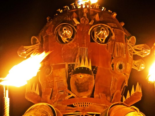 The head of El Pulpo Mechanico at Burning Man 2014.