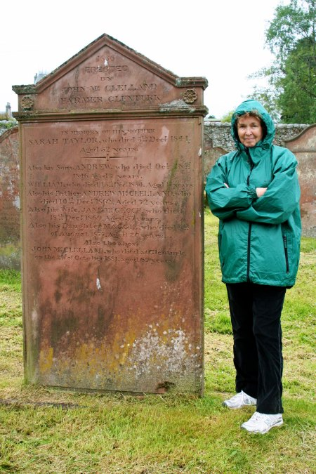 Scottish tombstone photo with Peggy Mekemson.
