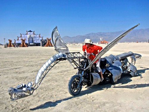 Peggy found this dragon out on the Playa while the owners were away. Good thing they didn't leave the keys. (Photo by Tom Lovering.)