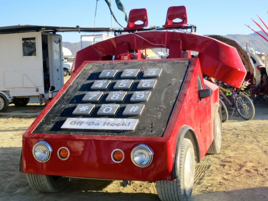 Push button phone mutant vehicle at Burning Man 2014 photographed by Curtis Mekemson.