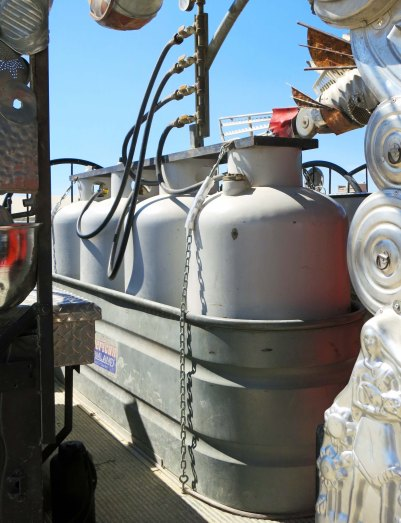 Four propane tanks provided El Pulpo Mechanical with fuel for his fiery performances at Burning Man. Photo by Curtis Mekemson.