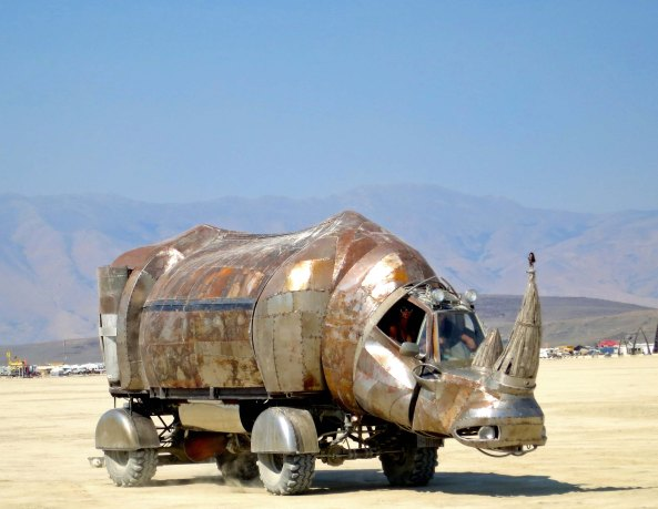 Giant rhino mutant vehicle at Burning Man 2014. Photo by Curtis Mekemson.