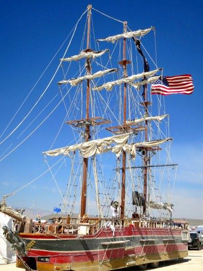 A three mast sailing ship at Burning Man 2014. Photo by Curtis Mekemson.